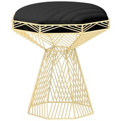 Modern Wire Stool, in Gold with a Reversible Black Leather Top