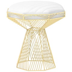 Modern Wire Stool, in Gold with a Reversible White Leather Top