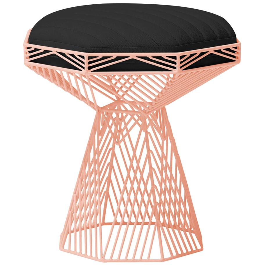 Modern Wire Stool, in Peachy Pink with a Reversible Black Leather Top