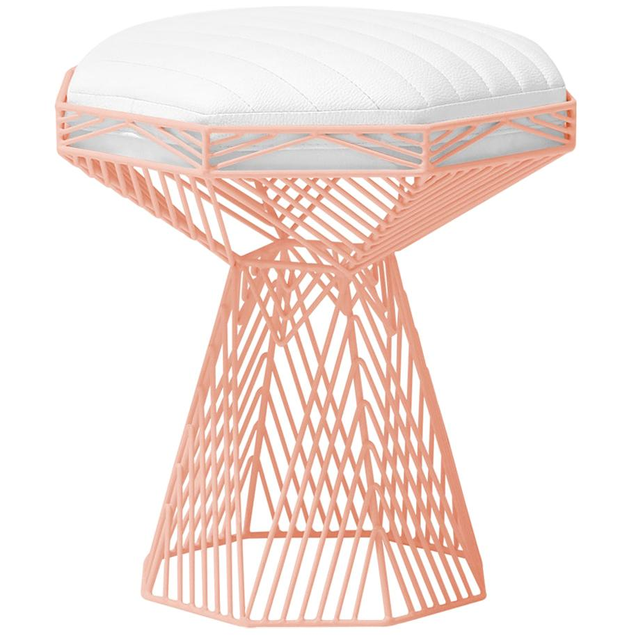 Modern Wire Stool, in Peachy Pink with a Reversible White Leather Top