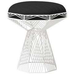 Modern Wire Stool, in White with a Reversible Black Leather Top