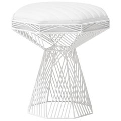 Modern Wire Stool, in White with a Reversible White Leather Top