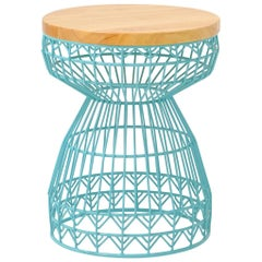 Modern Wire Stool with a Wood Seat, Sweet Stool in Aqua by Bend Goods
