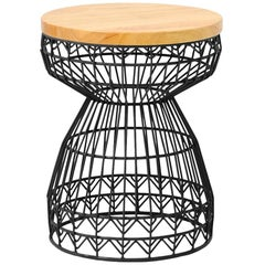 Modern Wire Stool with a Wood Seat, Sweet Stool in Black by Bend Goods