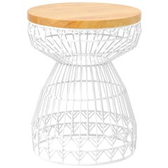 Modern Wire Stool with a Wood Seat, Sweet Stool in White by Bend Goods
