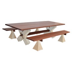 Modern Wood and Concrete Dining Table Set with Benches