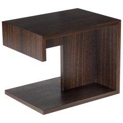 Modern Wood End Table in Fumed Ebony Oak, by Studio DiPaolo