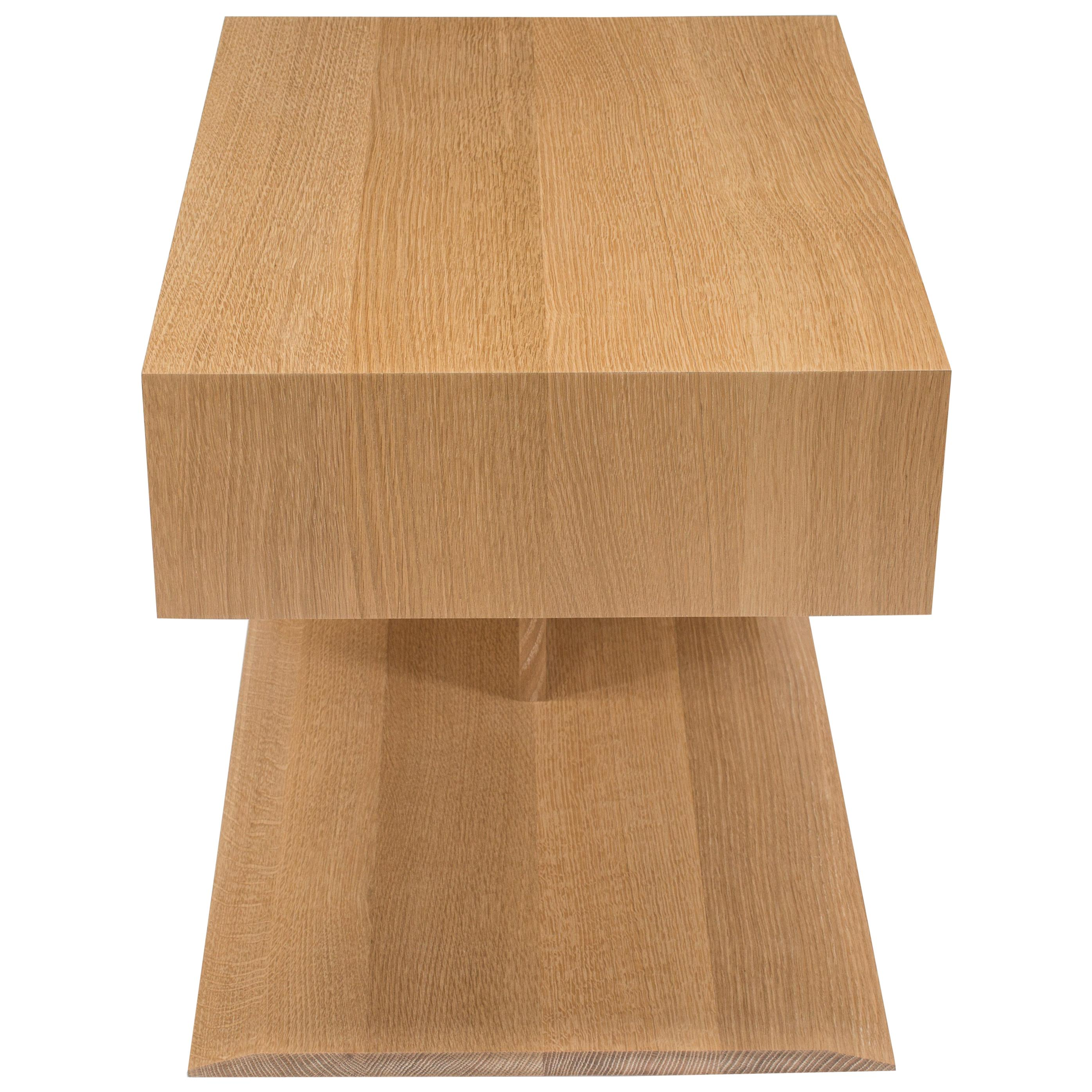 Modern Wood End Table in Solid White Oak, by Studio DiPaolo