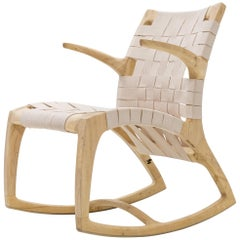 Modern Wood Midcentury Luna Rocking Chair with Webbed Seat by Goebel