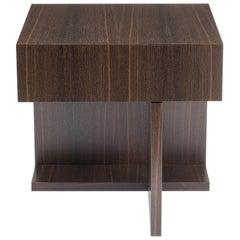 Modern Wood Night Table in Fumed Ebony Oak, by Studio DiPaolo