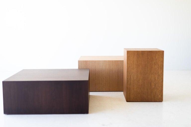 American Modern Wood Side Table in Oak For Sale