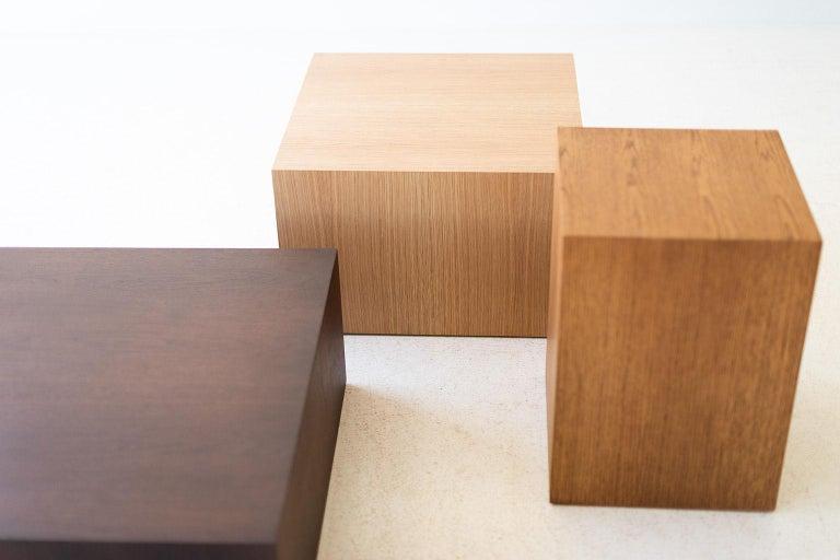 Hardwood Modern Wood Side Table in Oak For Sale