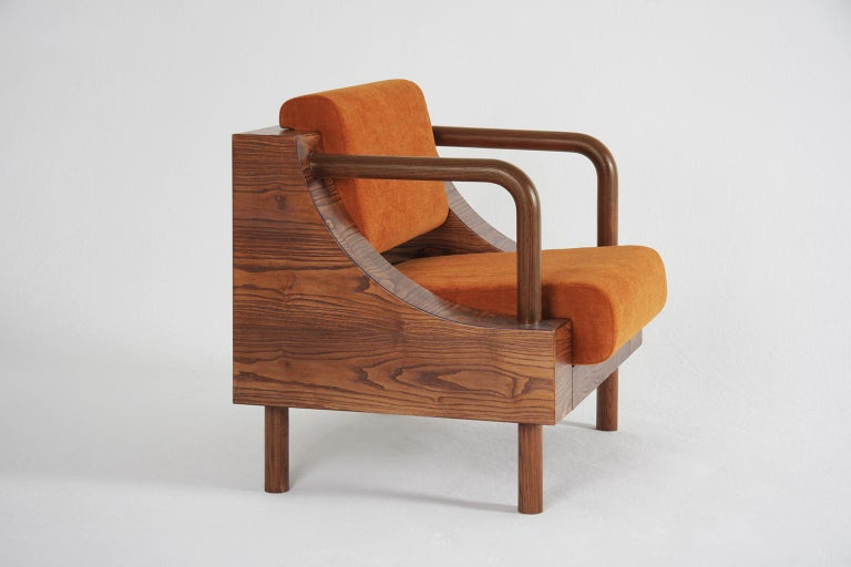 Hand-Crafted Modern Wooden Armchair from