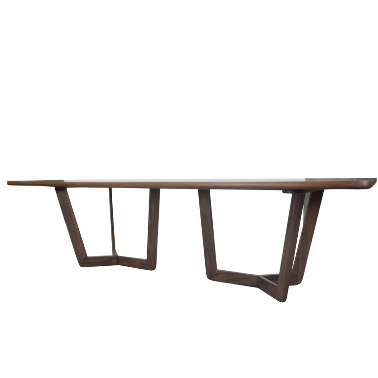 Contemporary Modern Wooden Dining Table, Customizable For Sale