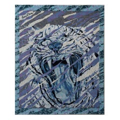 Tiger Carpet Designed by Iena Cruz with blue, white, purple hand made in Nepal