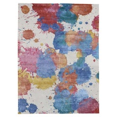 Modern Wool and Silk Splash Design Thick and Plush Hand Knotted Rug