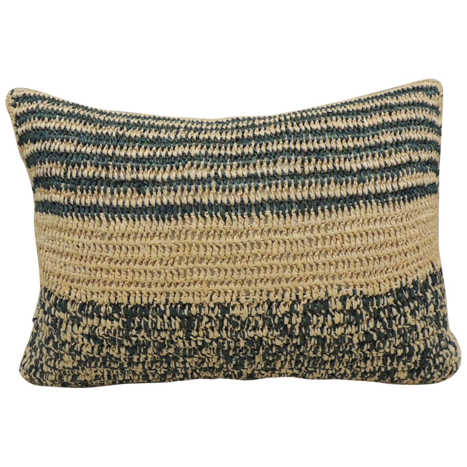 Modern Woven Green and Natural Raffia Lumbar Decorative Pillow