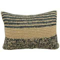Modern Woven Green and Natural Raffia Lumbar Decorative Pillow