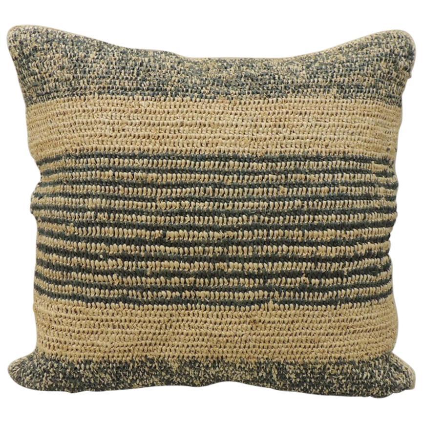Modern Woven Green and Natural Raffia Square Decorative Pillow