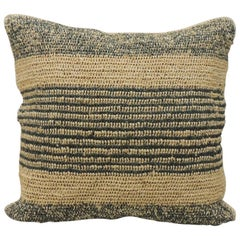 Modern Woven Green and Natural Raffia Square Decorative Pillow