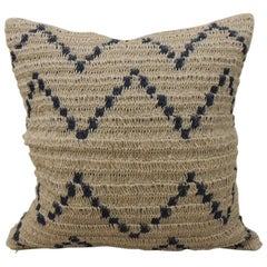 Modern Woven Navy and Tan Raffia Square Decorative Pillow