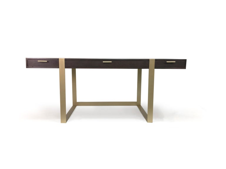 Brushed Modern Writing Desk with Three Drawers For Sale