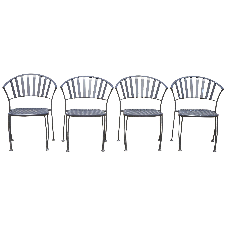 Modern Wrought Iron Barrel Back Sculptural Garden Patio Dining Chairs, Set of 4