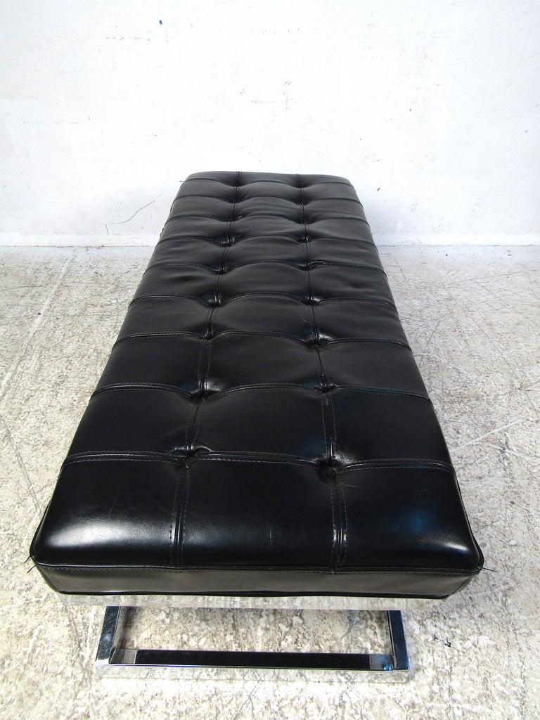 Mid-Century Modern Modern X-Base Upholstered Bench For Sale