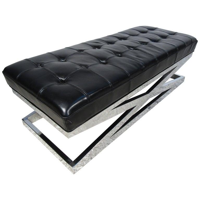 Modern X-Base Upholstered Bench For Sale