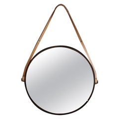 Modern XI Mirror in Alabaster, Steel Walnut and Leather by Ordinal Indicator