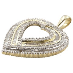Modern Yellow and White Gold Diamond 1.52 Carat Heart Pendant