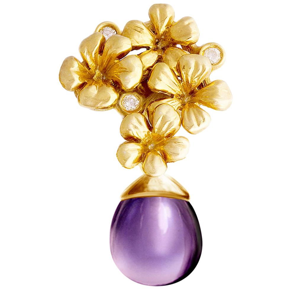 Modern Yellow Gold Transformer Plum Blossom Brooch with Diamonds and Amethyst