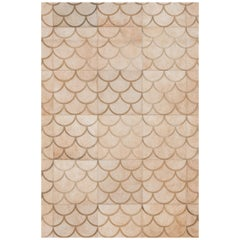 Scallop crescent pattern Customizable Luneta Medium Cowhide Area Floor Rug
