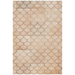 Modern Scallop crescent pattern Customizable Luneta Cowhide Area Floor Rug Large
