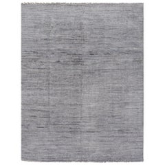 Modern Zagora Rug Wool Hand Knotted Gray and light Blue Moroccan Design Style