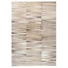 Modern Zebra Design Flat-Weave Wool Rug in Beige and Gray