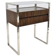 Modern Zebra Wood Chrome Glass Jewelry Closet Display Counter Case with Drawer