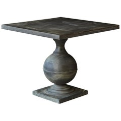 Modern Zinc Pedestal Table on Baluster Form Base with Square Top