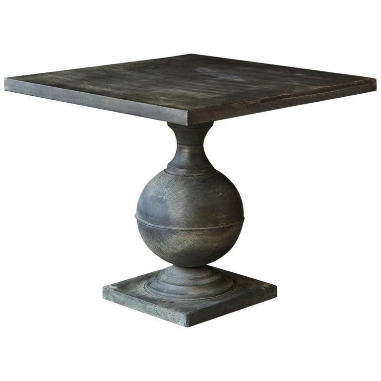 Modern Zinc Pedestal Table On Baer Form Base With Square Top