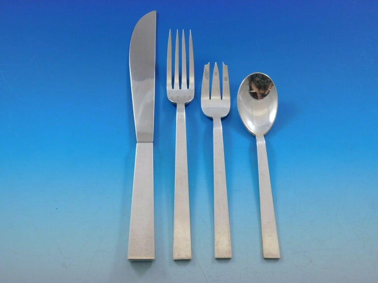 Moderne by Adra Sterling Silver Flatware Set Modernism California, 140 Pieces In Excellent Condition For Sale In Big Bend, WI