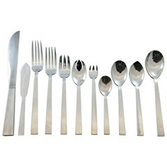 Moderne by Adra Sterling Silver Flatware Set Modernism California, 140 Pieces