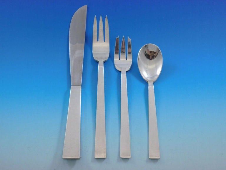 Moderne by Adra Sterling Silver Flatware Set Modernism California 78 Pcs Dinner In Excellent Condition For Sale In Big Bend, WI
