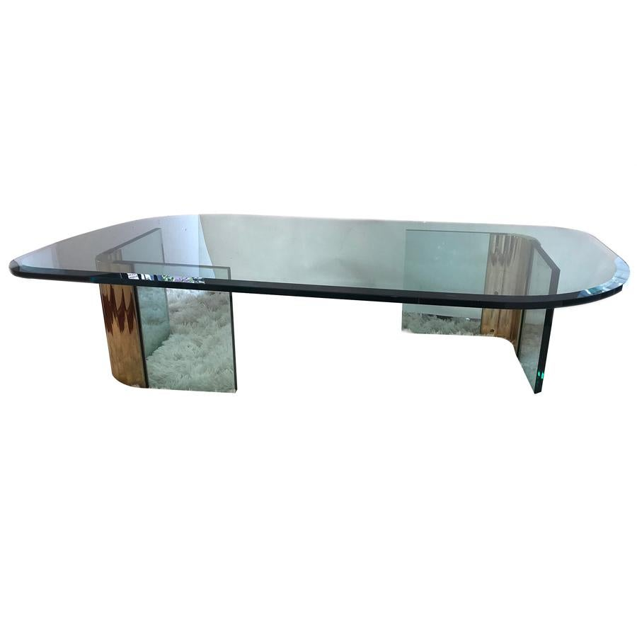 Moderne Gilt Coffee Table with Glass Top
