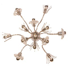 Moderne Nickel-Plated Flush Mounted Light Fixture