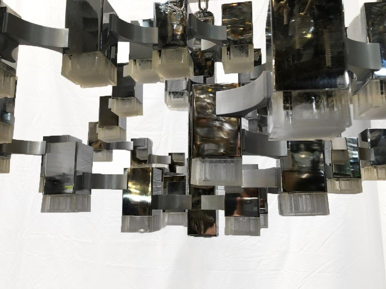 Moderne Nickel-Plated Light Fixture In Good Condition For Sale In New York, NY