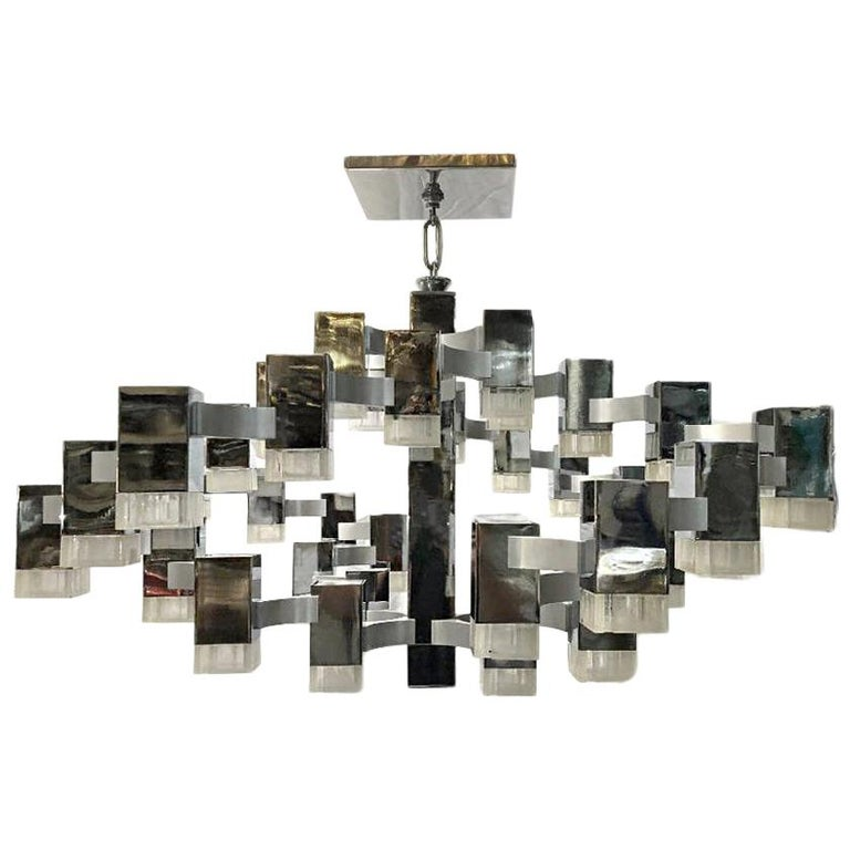 Moderne Nickel-Plated Light Fixture For Sale