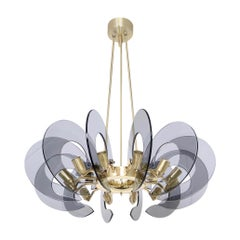 Moderne Smoke Blue Glass Panel Chandelier