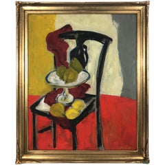"Modernest Oil on Canvas ""Fruit on Chair"" Signed Nash, 1960"