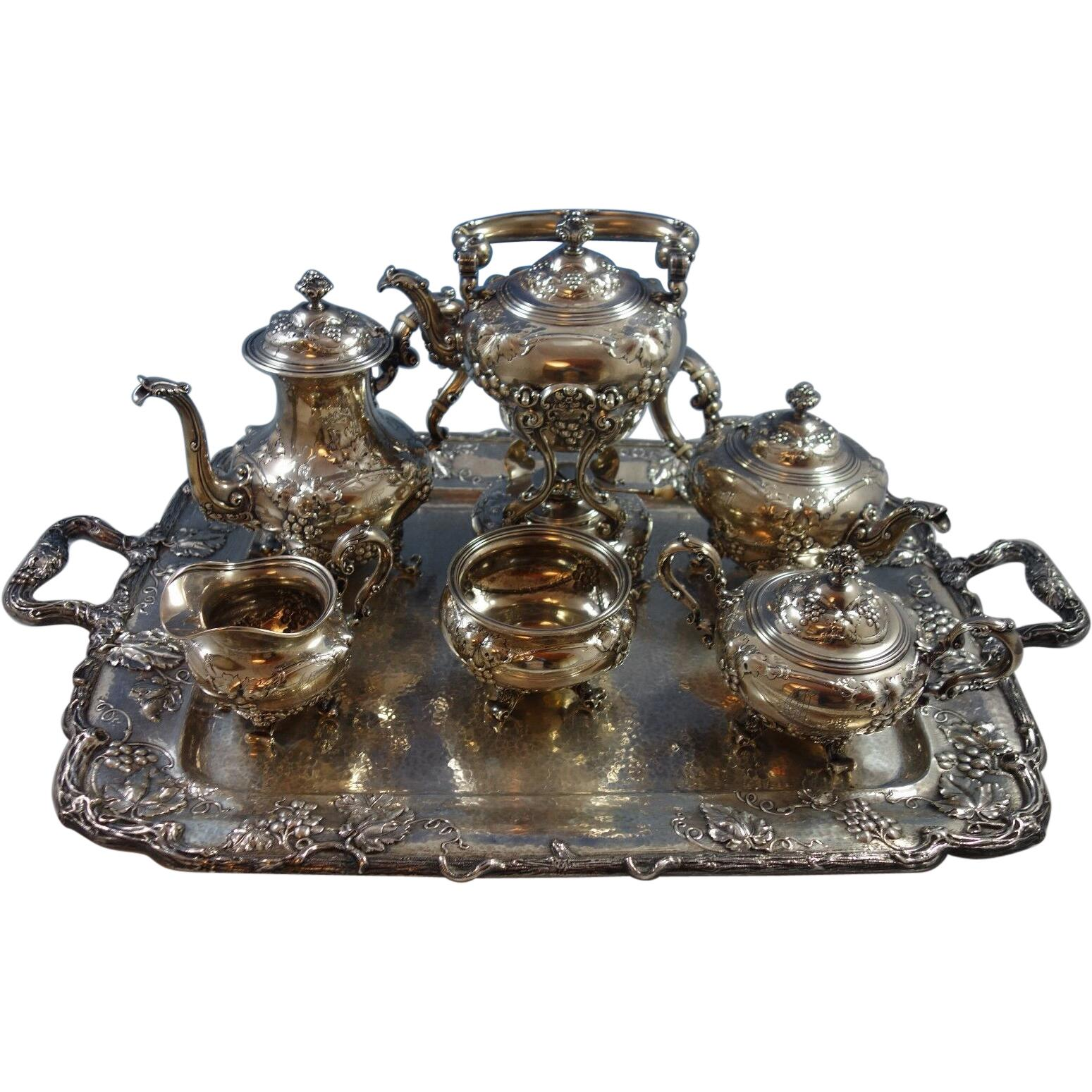 Modernic by Gorham Sterling Silver Tea Set 6-Piece & Tray #1818B '#1918' Grapes