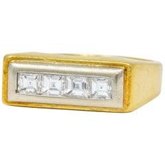 Modernist 0.72 Carat Diamond Unisex 18 Karat Gold Platinum Band Ring